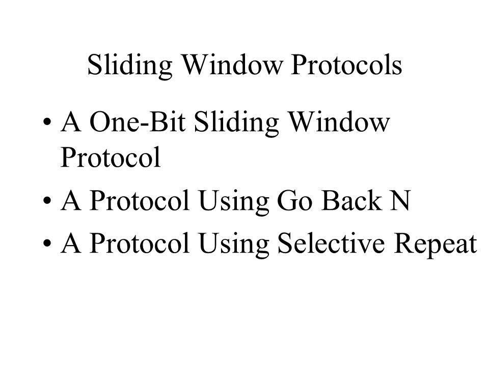 Sliding Window Protocols A One-Bit Sliding Window Protocol A Protocol Using Go Back N A Protocol Using Selective Repeat