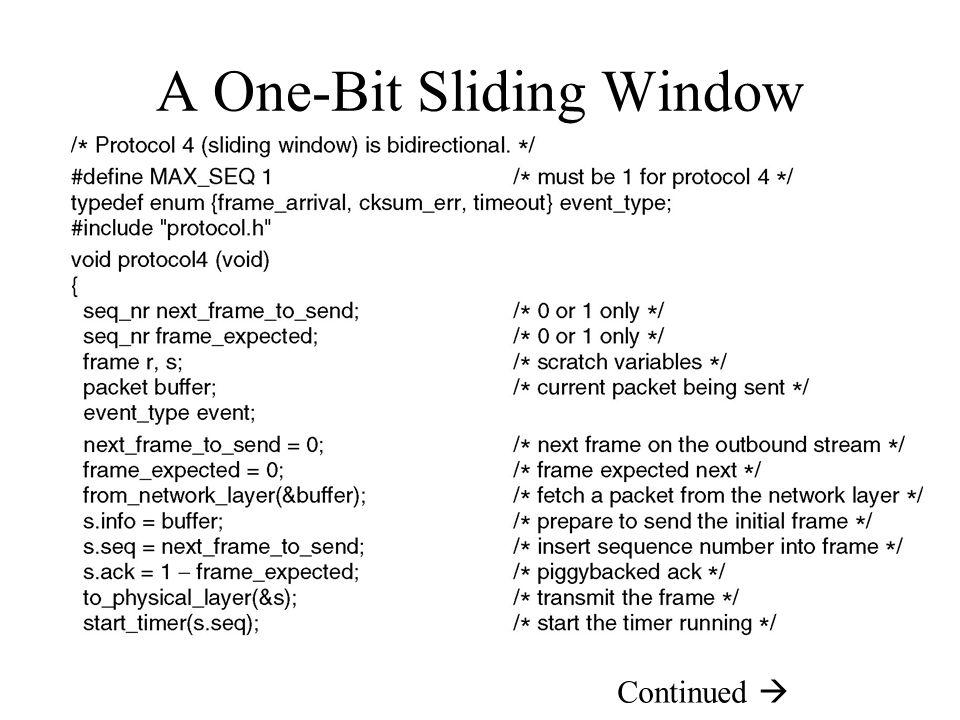 A One-Bit Sliding Window Protocol Continued