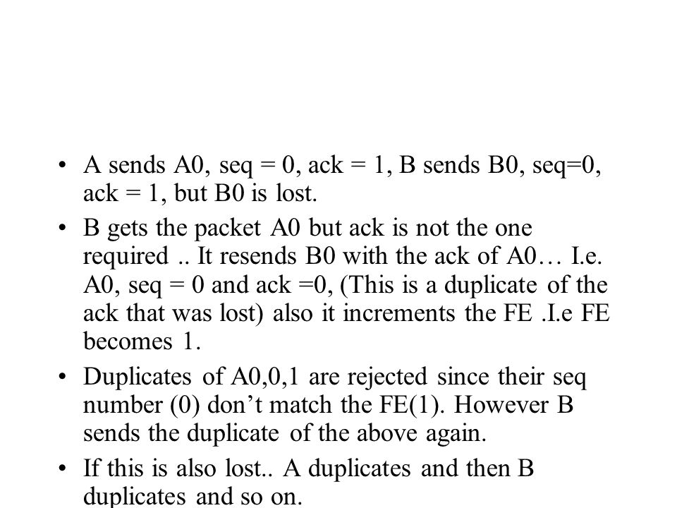 A sends A0, seq = 0, ack = 1, B sends B0, seq=0, ack = 1, but B0 is lost.