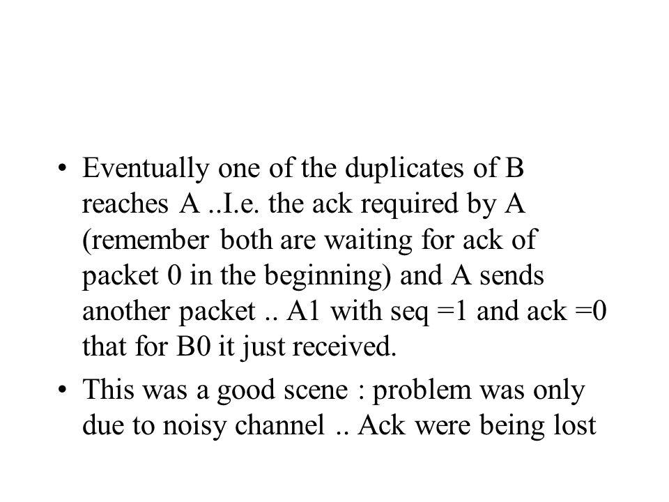 Eventually one of the duplicates of B reaches A..I.e.