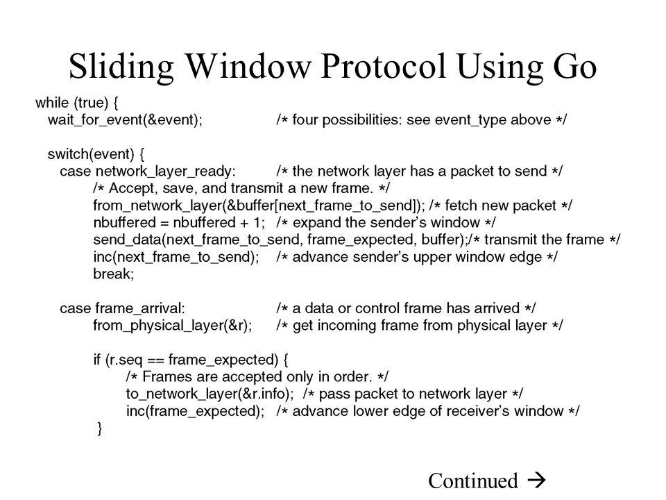 Sliding Window Protocol Using Go Back N Continued