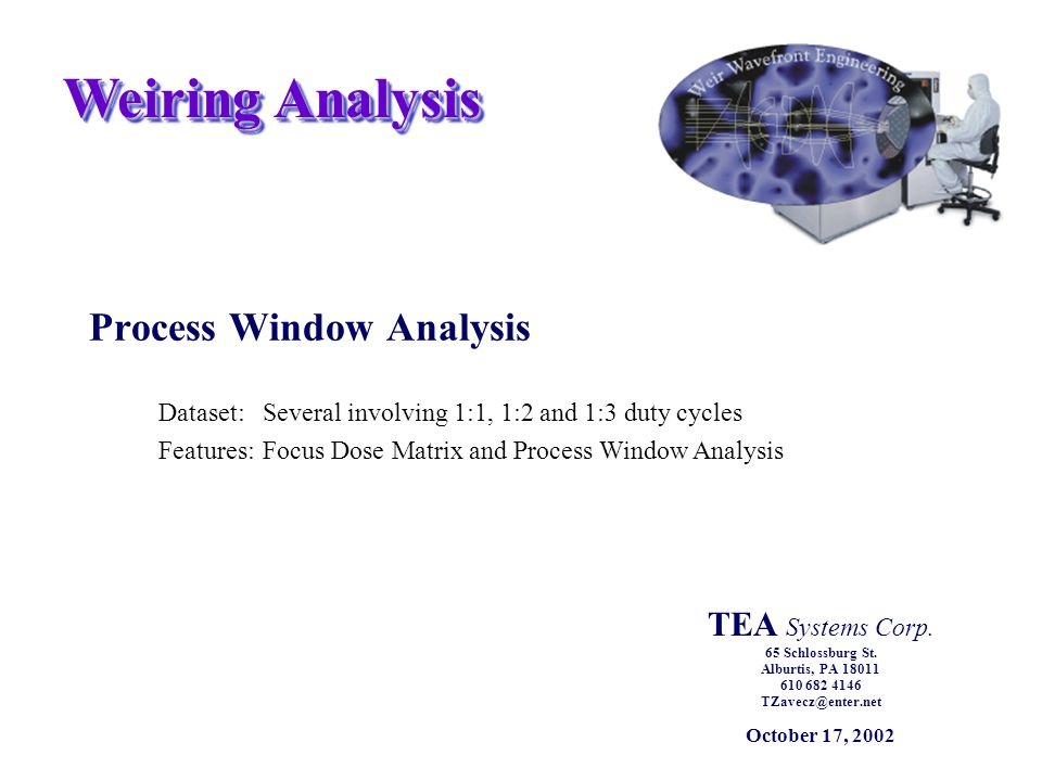 Weiring Analysis Process Window Analysis Dataset:Several involving 1:1, 1:2 and 1:3 duty cycles Features:Focus Dose Matrix and Process Window Analysis TEA Systems Corp.