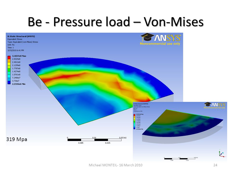 Be - Pressure load – Von-Mises 24Michael MONTEIL- 16 March 2010 319 Mpa