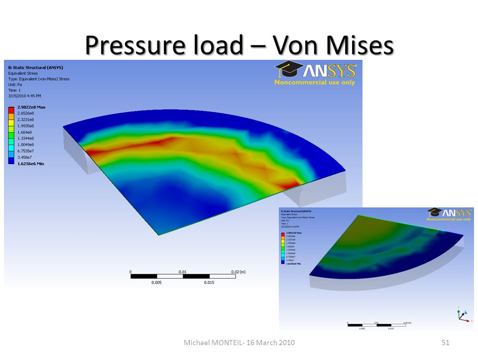 Pressure load – Von Mises 51Michael MONTEIL- 16 March 2010