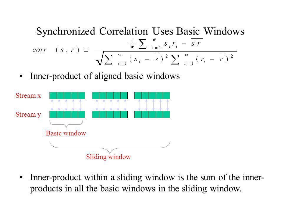 Synchronized Correlation Uses Basic Windows Inner-product of aligned basic windows Stream x Stream y Sliding window Basic window Inner-product within