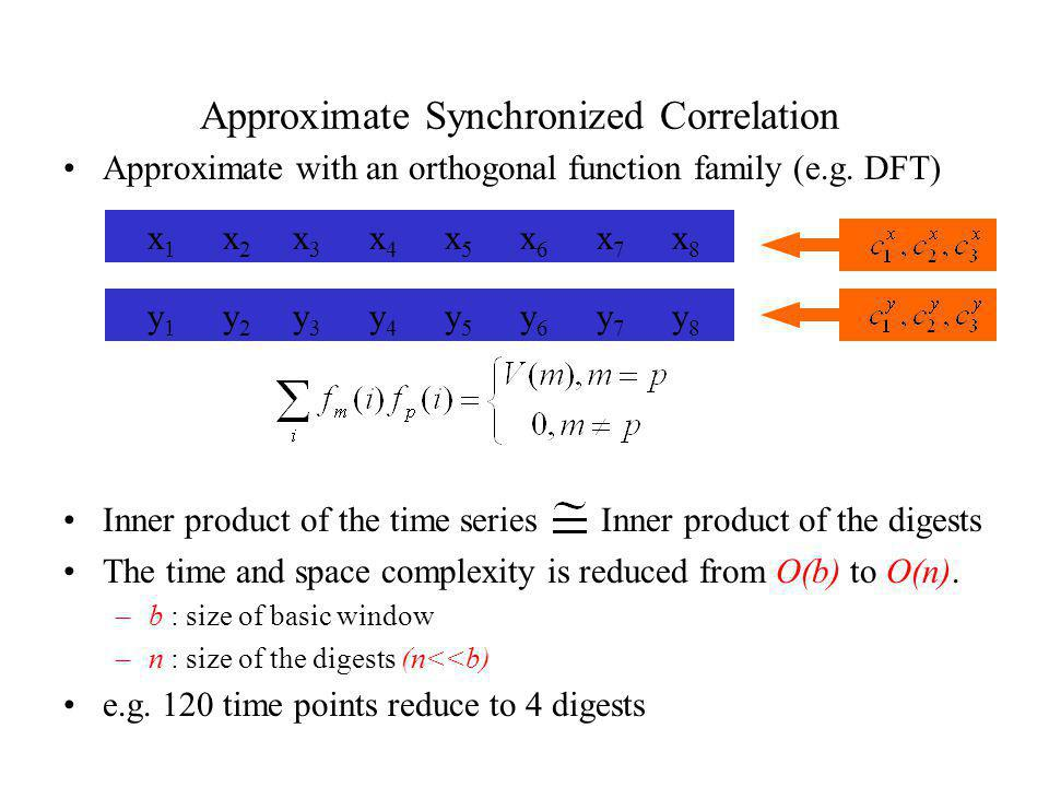 Approximate with an orthogonal function family (e.g. DFT) Inner product of the time series Inner product of the digests The time and space complexity