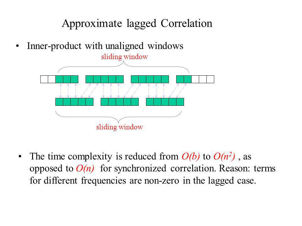 Approximate lagged Correlation Inner-product with unaligned windows The time complexity is reduced from O(b) to O(n 2 ), as opposed to O(n) for synchr
