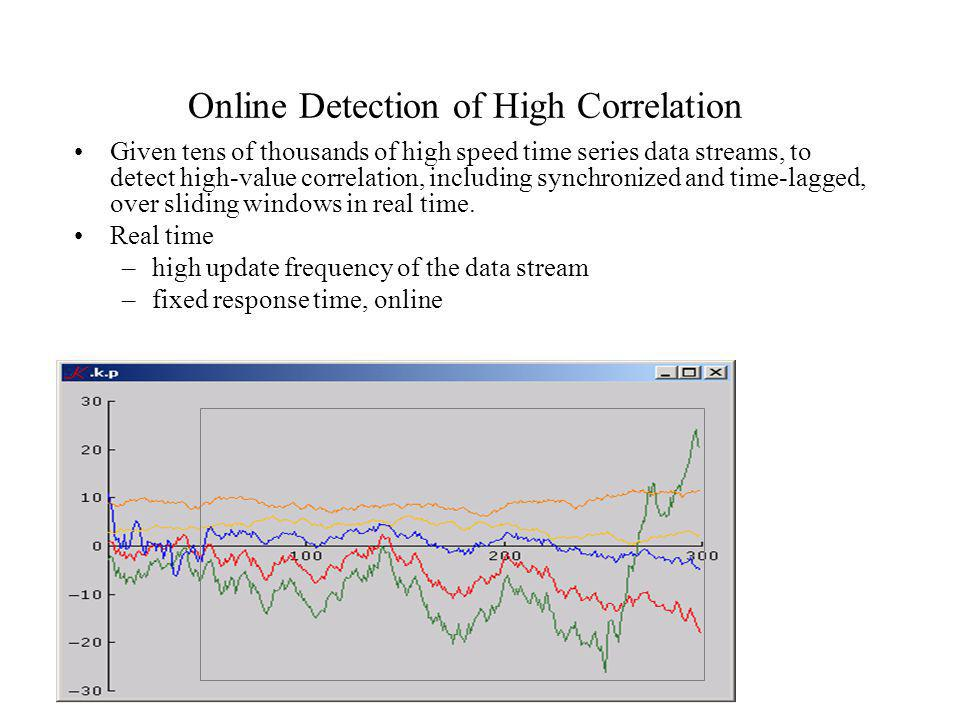 Online Detection of High Correlation Given tens of thousands of high speed time series data streams, to detect high-value correlation, including synch
