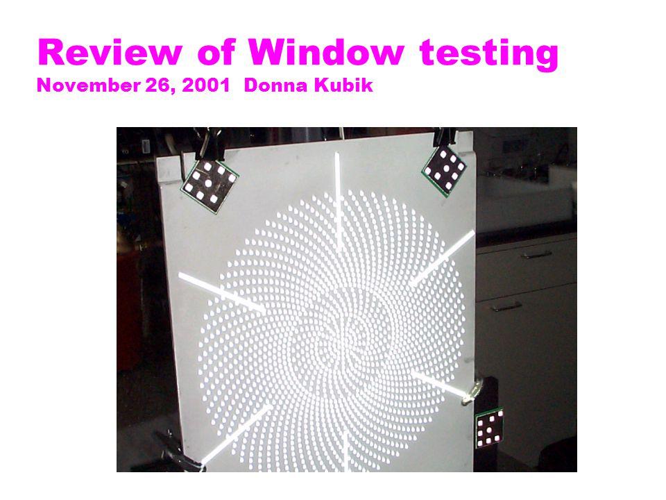 Review of Window testing November 26, 2001 Donna Kubik