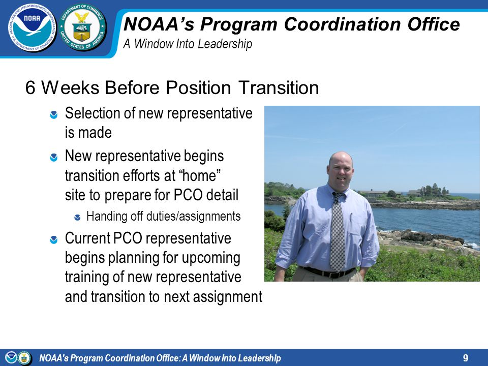 NOAA s Program Coordination Office: A Window Into Leadership10 NOAAs Program Coordination Office A Window Into Leadership One Week Before Position Transition New representative arrives and conducts one full week of shadowing Hand-off of duties/assignments Handle administrative details Personal introductions to HCHB NOAA employees