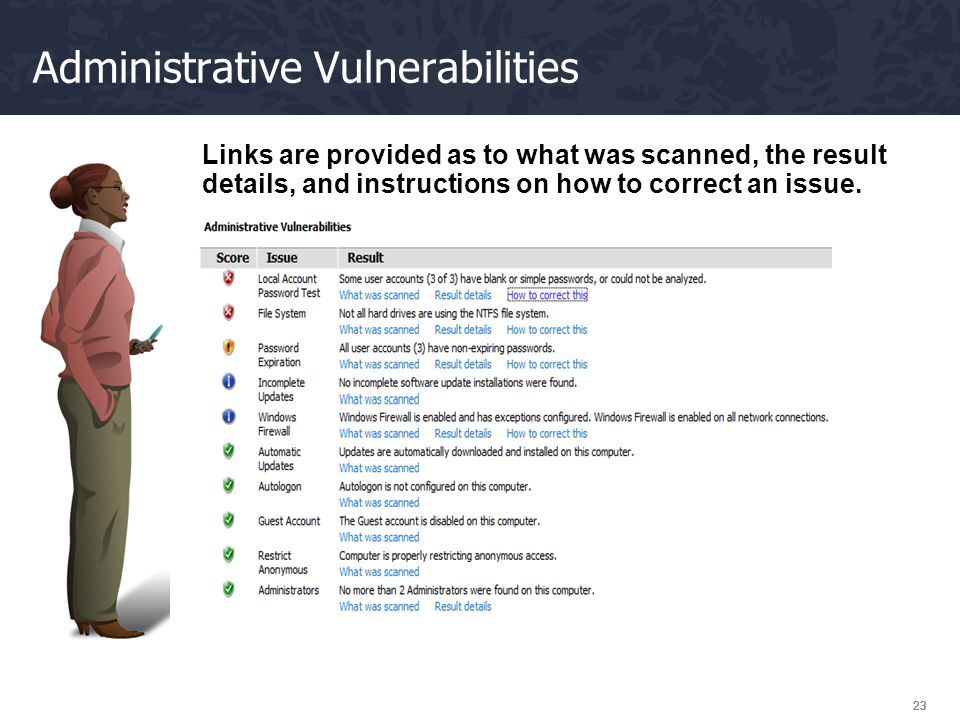 23 Administrative Vulnerabilities Links are provided as to what was scanned, the result details, and instructions on how to correct an issue.