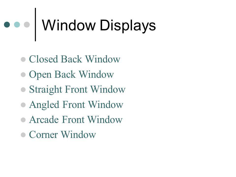 Window Displays Closed Back Window Open Back Window Straight Front Window Angled Front Window Arcade Front Window Corner Window