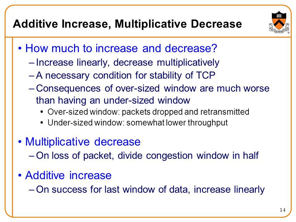 14 Additive Increase, Multiplicative Decrease How much to increase and decrease? –Increase linearly, decrease multiplicatively –A necessary condition