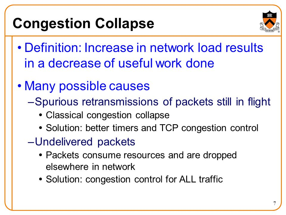 38 Explicit Congestion Notification Early dropping of packets –Good: gives early feedback –Bad: has to drop the packet to give the feedback Explicit Congestion Notification –Router marks the packet with an ECN bit –… and sending host interprets as a sign of congestion Surmounting the challenges –Must be supported by the end hosts and the routers –Requires two bits in the IP header (one for the ECN mark, and one to indicate the ECN capability) –Solution: borrow two of the Type-Of-Service bits in the IPv4 packet header