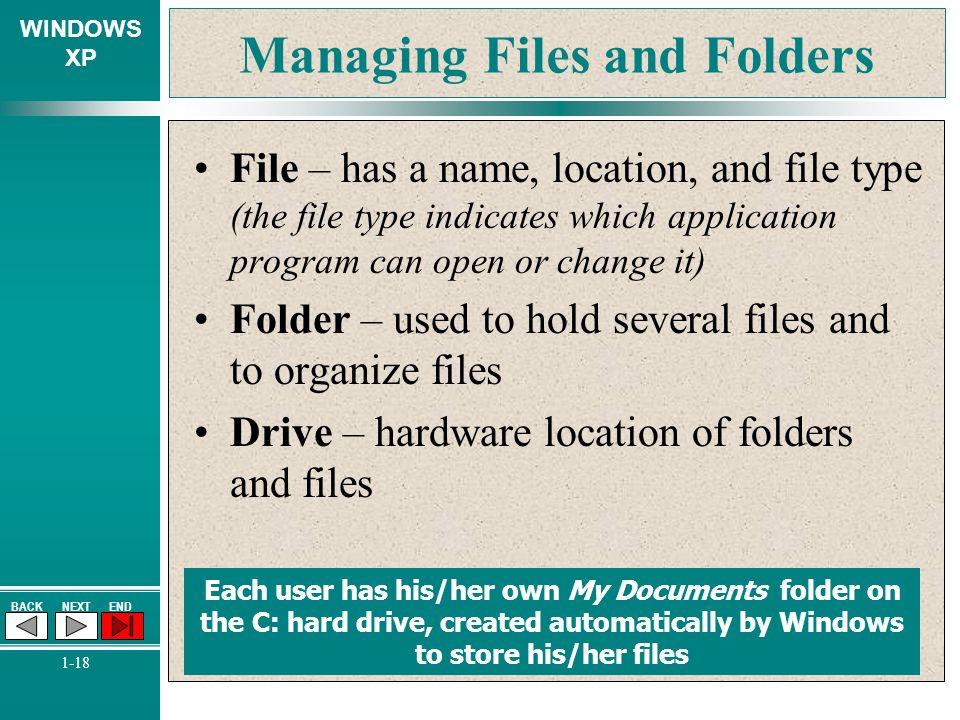 WINDOWS XP BACKNEXTEND 1-18 Managing Files and Folders File – has a name, location, and file type (the file type indicates which application program c
