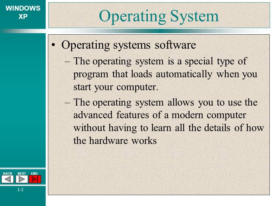 WINDOWS XP BACKNEXTEND 1-2 Operating System Operating systems software –The operating system is a special type of program that loads automatically whe