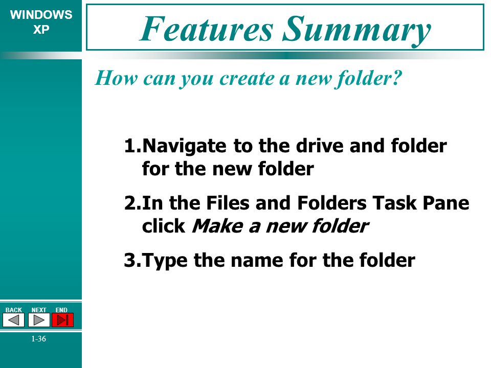 WINDOWS XP BACKNEXTEND 1-36 Features Summary How can you create a new folder? 1.Navigate to the drive and folder for the new folder 2.In the Files and
