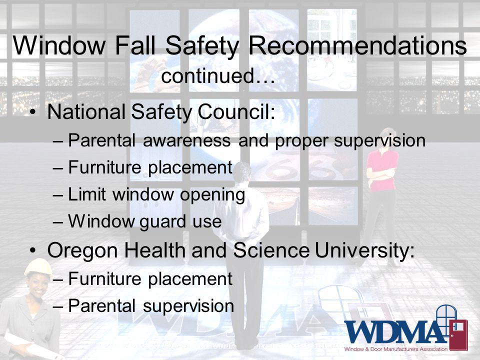 Window Fall Safety Recommendations National Safety Council: –Parental awareness and proper supervision –Furniture placement –Limit window opening –Window guard use Oregon Health and Science University: –Furniture placement –Parental supervision continued…