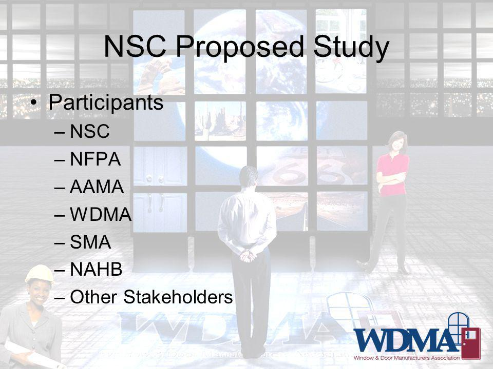 NSC Proposed Study Participants –NSC –NFPA –AAMA –WDMA –SMA –NAHB –Other Stakeholders