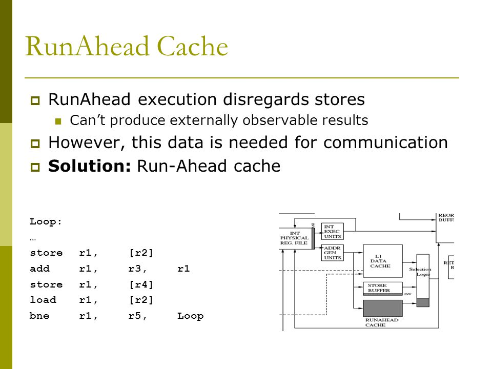 RunAhead Cache RunAhead execution disregards stores Cant produce externally observable results However, this data is needed for communication Solution