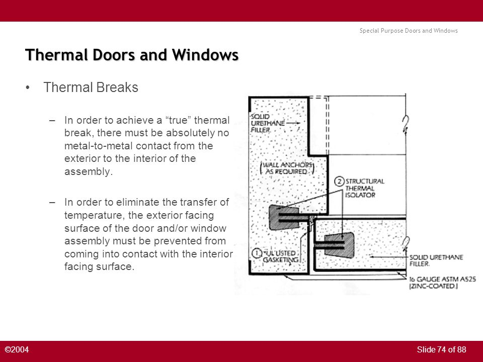 Special Purpose Doors and Windows ©2004Slide 74 of 88 Thermal Doors and Windows Thermal Breaks –In order to achieve a true thermal break, there must b
