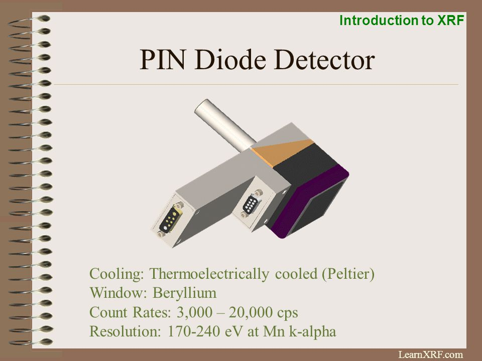 Introduction to XRF LearnXRF.com Silicon Drift Detector- SDD Packaging: Similar to PIN Detector Cooling: Peltier Count Rates; 10,000 – 300,000 cps Resolution: 140-180 eV at Mn K-alpha