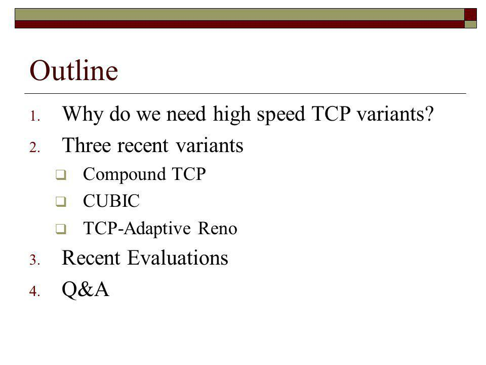 Summary ProtocolApproachAdvantagesDisadvantages Compound TCPCombines a delay based component with TCP Renos loss based component.