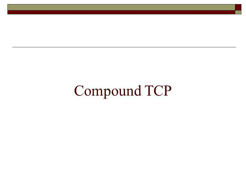Compound TCP - Motivation Loss-based - uses packet loss as an indicator of congestion and modifies the increase/decrease congestion avoidance TCP parameters.