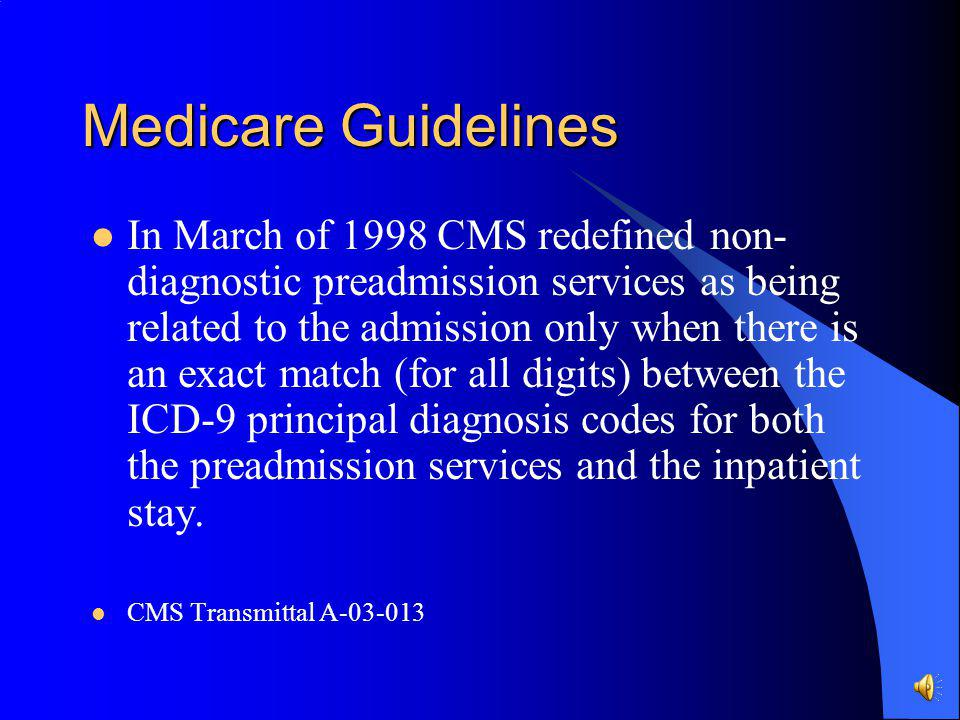 Medicare Guidelines Preadmission services that are subject to the payment window (covered under the inpatient payment) include diagnostic services and
