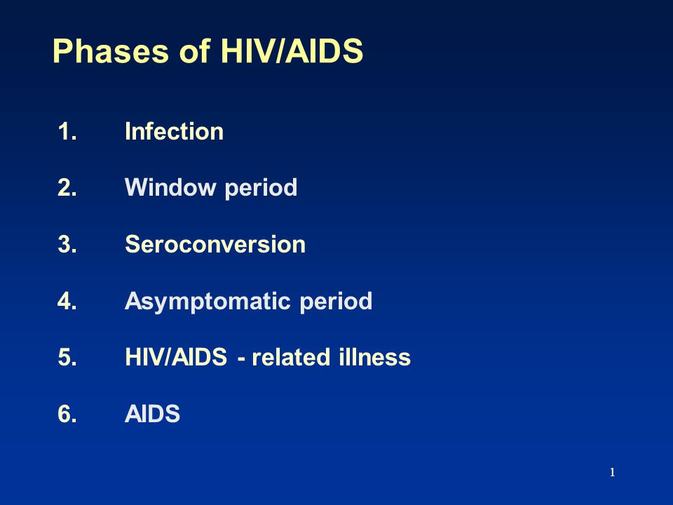 1 Phases of HIV/AIDS 1.Infection 2.Window period 3.Seroconversion 4. Asymptomatic period 5.HIV/AIDS - related illness 6. AIDS