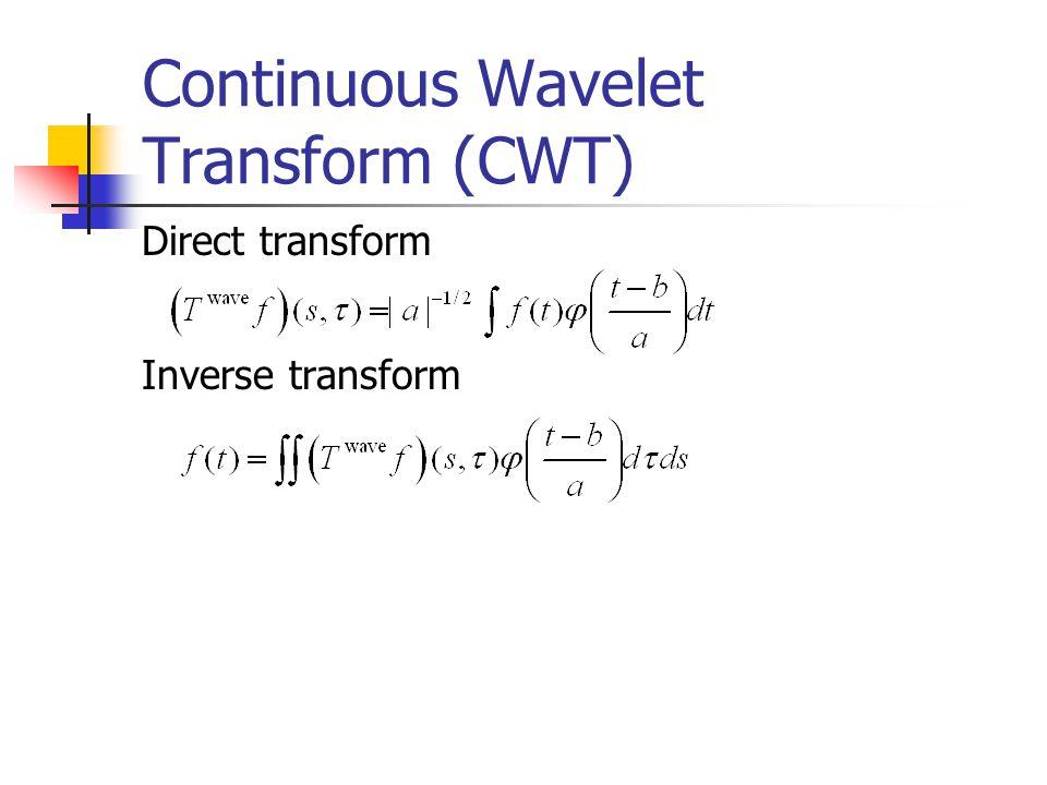 Continuous Wavelet Transform (CWT) Direct transform Inverse transform