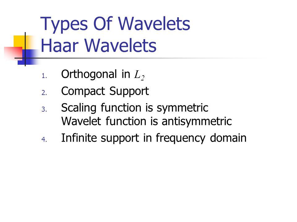 Types Of Wavelets Haar Wavelets 1. Orthogonal in L 2 2.