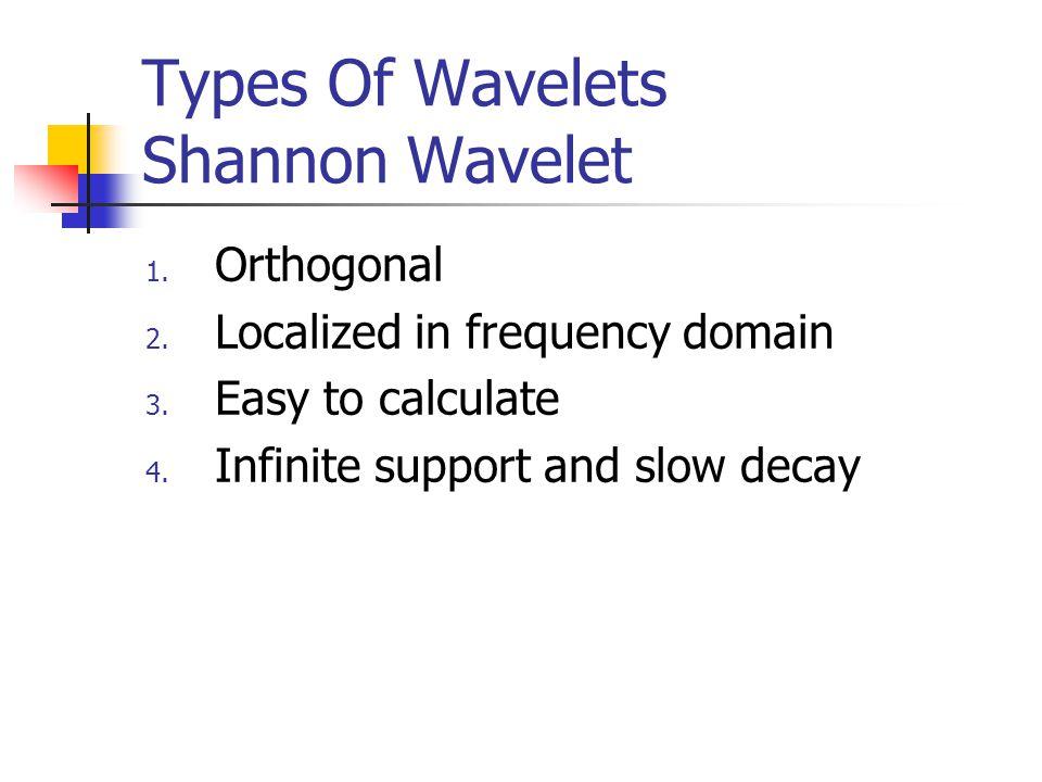 Types Of Wavelets Shannon Wavelet 1. Orthogonal 2.