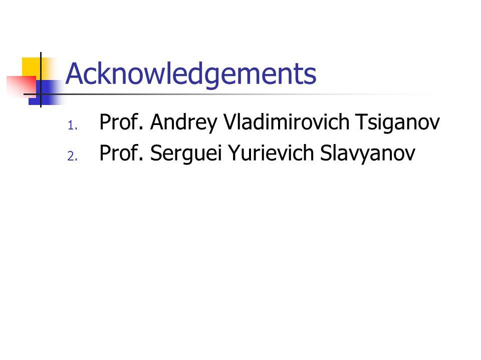 Acknowledgements 1. Prof. Andrey Vladimirovich Tsiganov 2. Prof. Serguei Yurievich Slavyanov