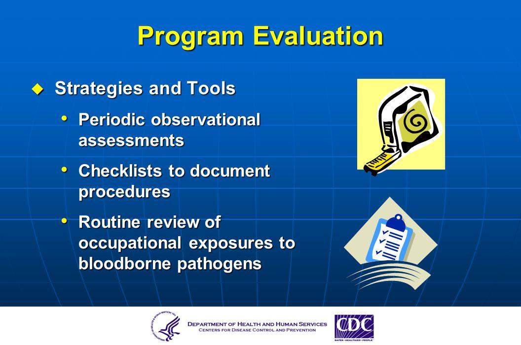 Program Evaluation Strategies and Tools Strategies and Tools Periodic observational assessments Periodic observational assessments Checklists to docum