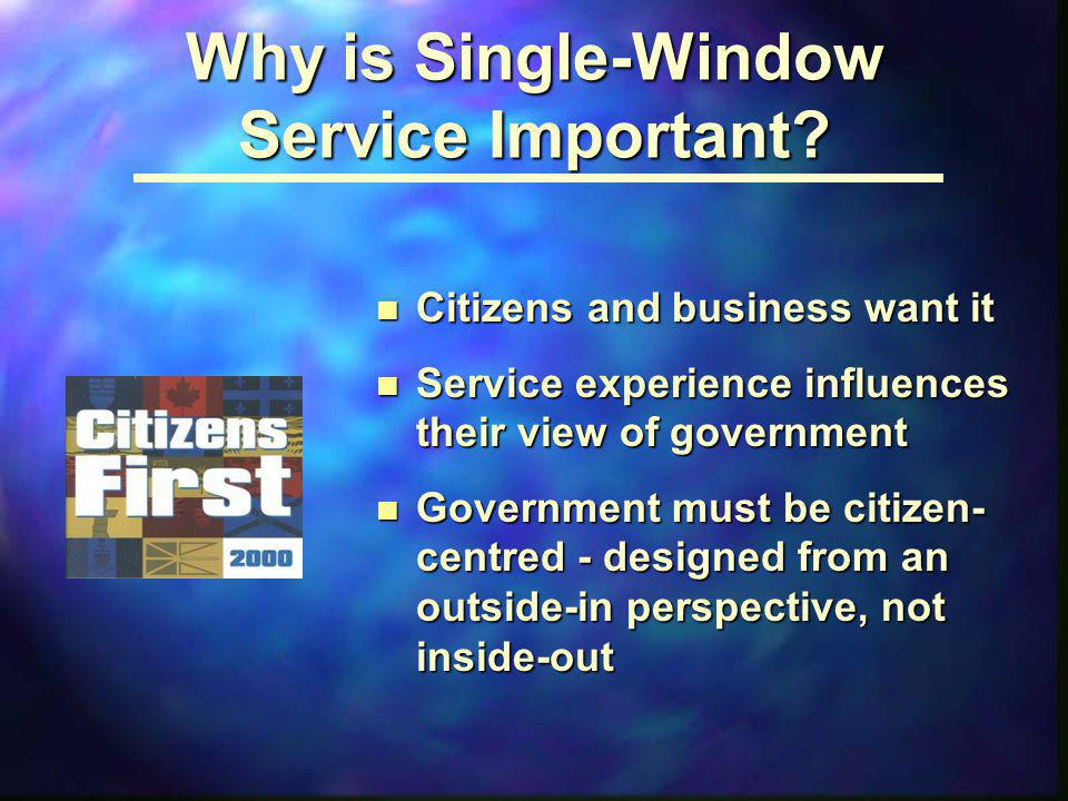 Why is Single-Window Service Important? n Citizens and business want it n Service experience influences their view of government n Government must be