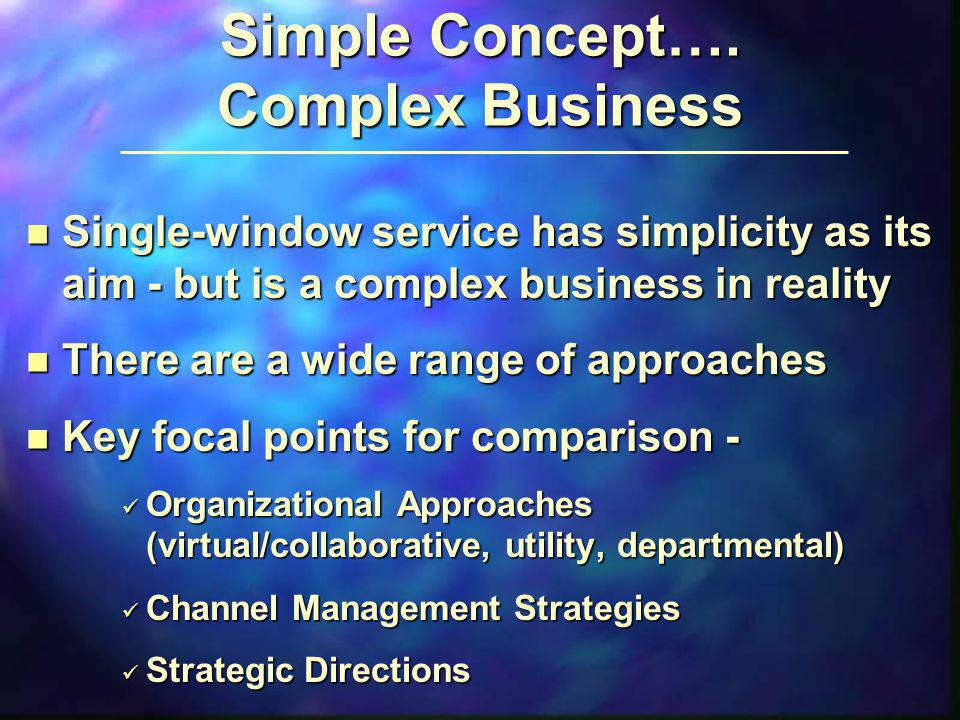 Simple Concept…. Complex Business n Single-window service has simplicity as its aim - but is a complex business in reality n There are a wide range of