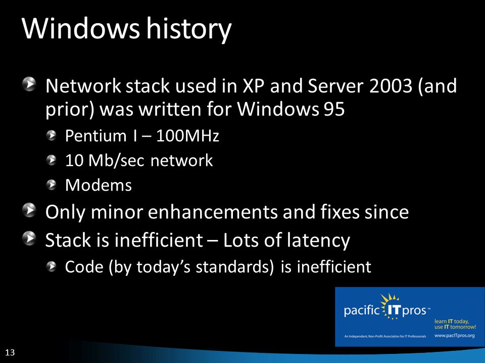13 Windows history Network stack used in XP and Server 2003 (and prior) was written for Windows 95 Pentium I – 100MHz 10 Mb/sec network Modems Only minor enhancements and fixes since Stack is inefficient – Lots of latency Code (by todays standards) is inefficient