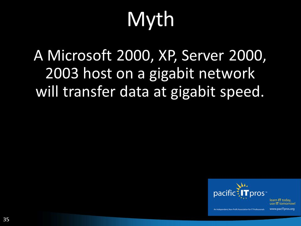 35 Myth A Microsoft 2000, XP, Server 2000, 2003 host on a gigabit network will transfer data at gigabit speed.