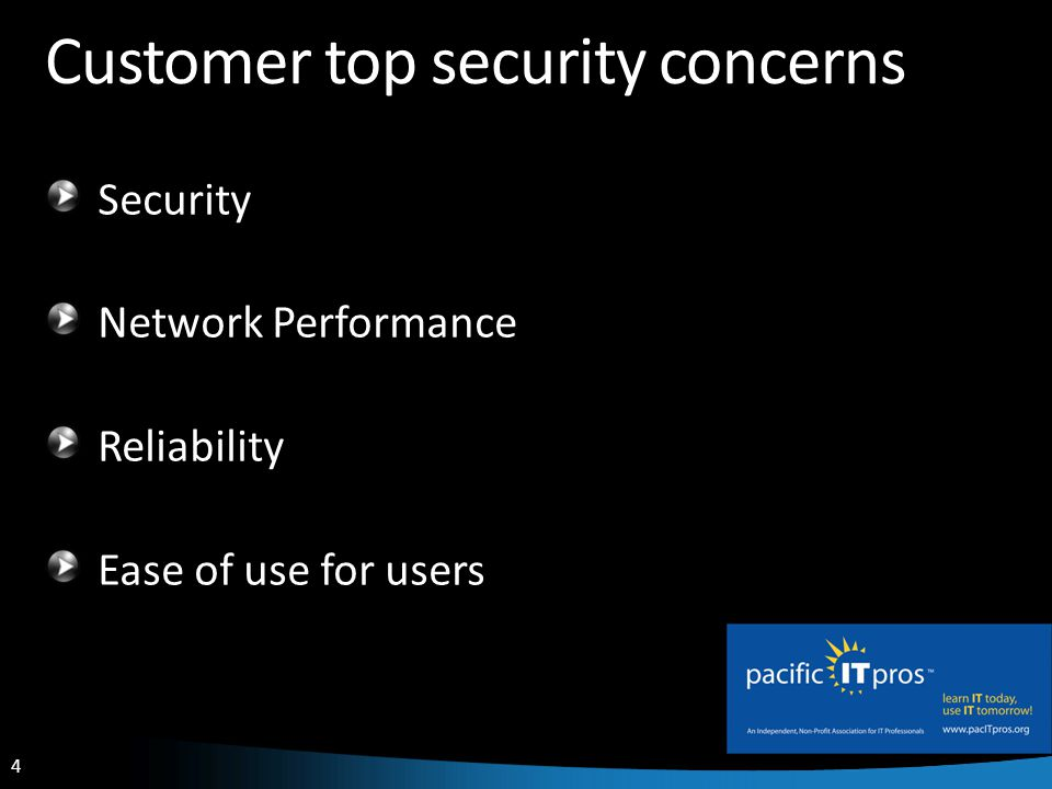 4 Customer top security concerns Security Network Performance Reliability Ease of use for users