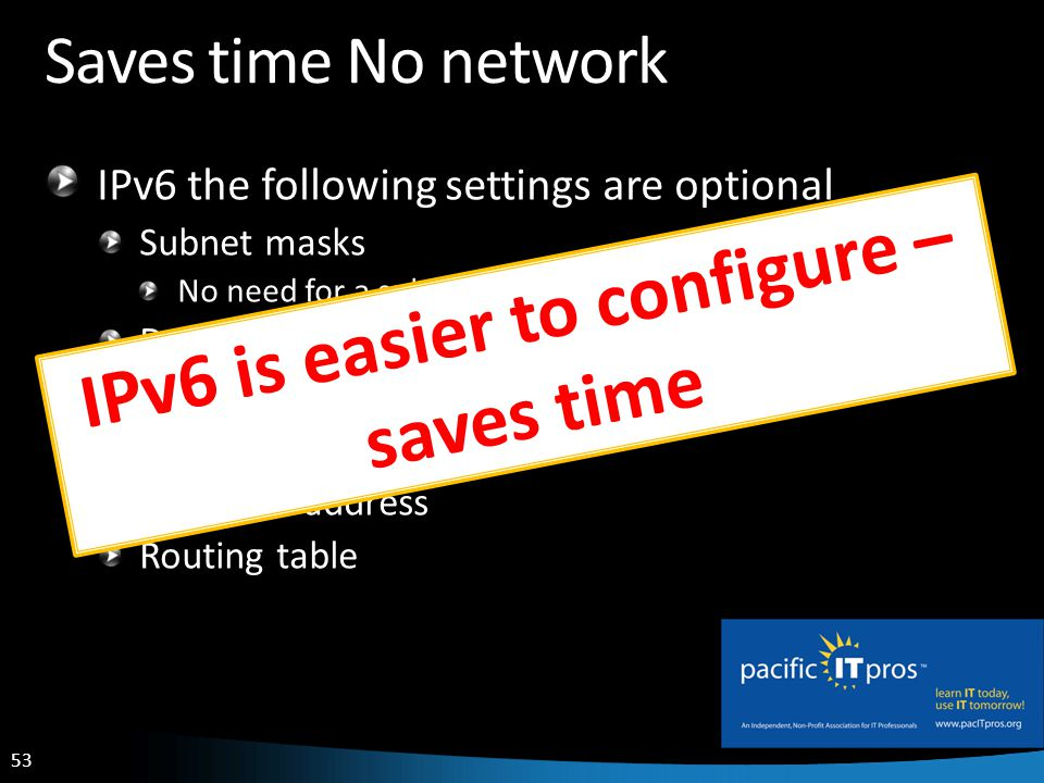 53 Saves time No network IPv6 the following settings are optional Subnet masks No need for a subnet calculator Default Gateways DNS Servers DHCP Servers Private IP address Routing table IPv6 is easier to configure – saves time