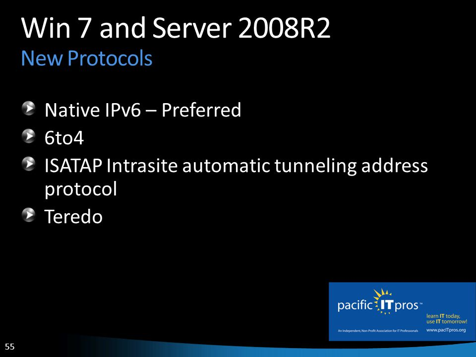 55 Win 7 and Server 2008R2 New Protocols Native IPv6 – Preferred 6to4 ISATAP Intrasite automatic tunneling address protocol Teredo