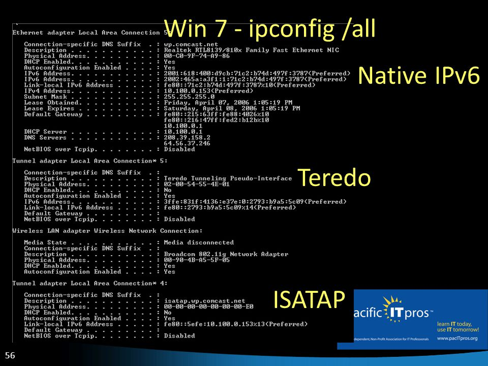 56 Win 7 - ipconfig /all Teredo ISATAP Native IPv6