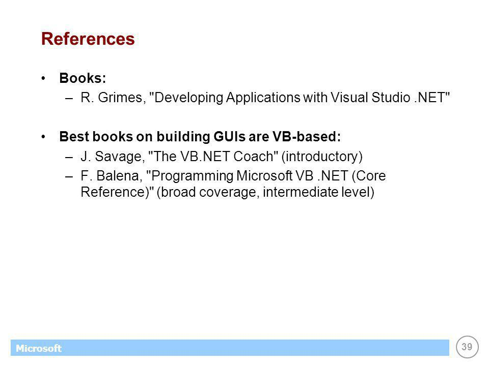 39 Microsoft References Books: –R.