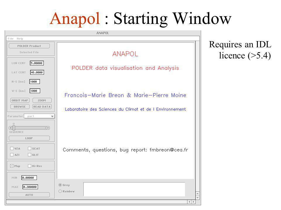Anapol : Starting Window Requires an IDL licence (>5.4)