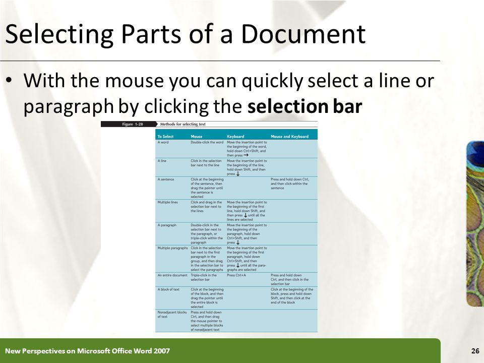 XP Selecting Parts of a Document With the mouse you can quickly select a line or paragraph by clicking the selection bar New Perspectives on Microsoft Office Word 200726