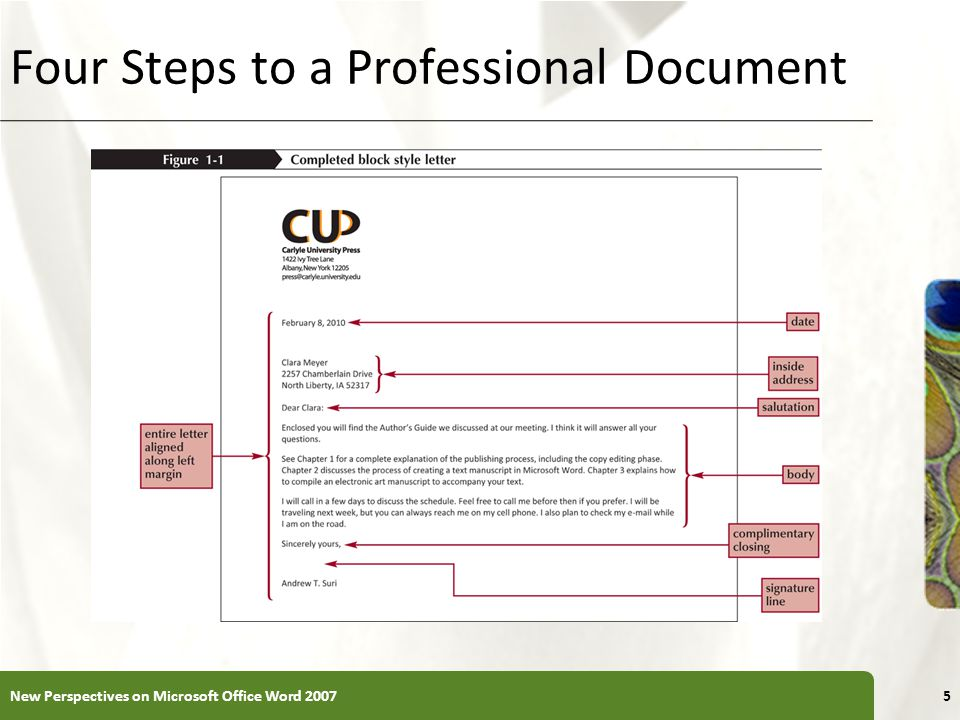 XP Four Steps to a Professional Document New Perspectives on Microsoft Office Word 20075
