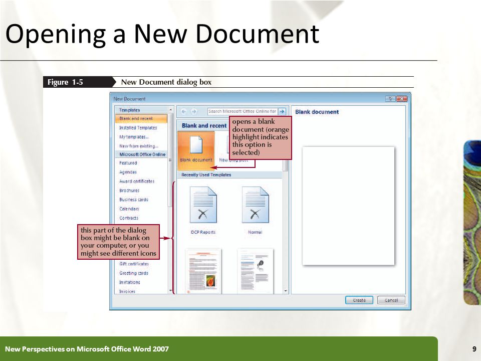 XP Opening a New Document New Perspectives on Microsoft Office Word 20079