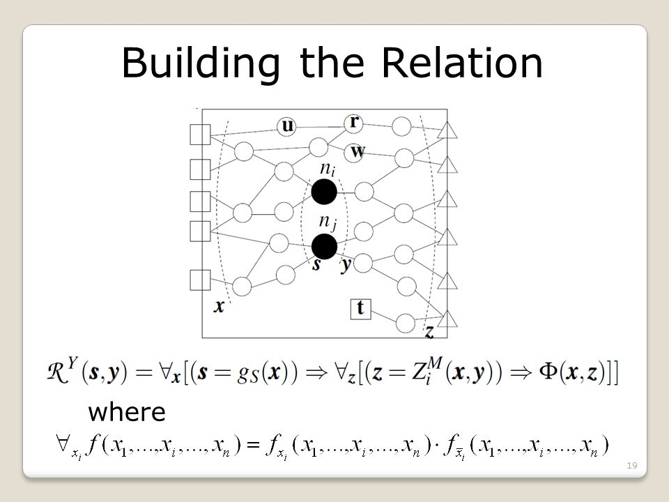 Building the Relation where 19