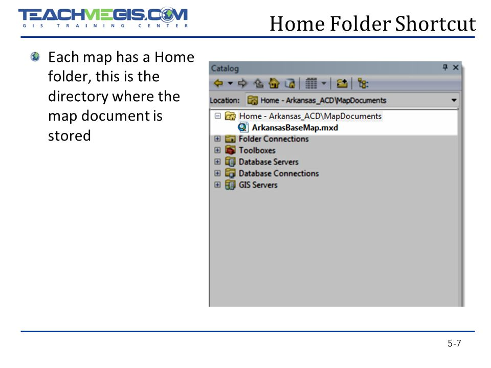 5-7 Home Folder Shortcut Each map has a Home folder, this is the directory where the map document is stored